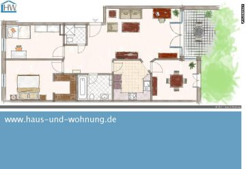 DIREKT AM RHEIN — CLEVER GESCHNITTENE 4-ZIMMER WOHNUNG MIT SONNIGER SÜDTERRASSE, 50999 Köln, Erdgeschosswohnung