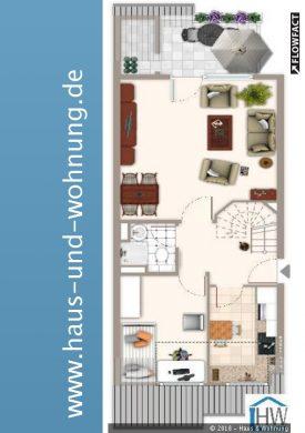 LICHTDURCHFLUTETE MAISONETTE-DACHGESCHOSSWOHNUNG MIT 81QM GRUNDFLÄCHE – EINBAUKÜCHE INKLUSIVE, 53123 Bonn (Lessenich), Maisonettewohnung