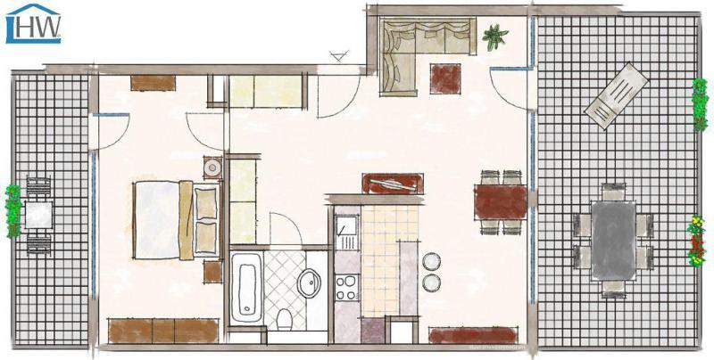 haus und wohnung markus l hr direkt am rhein ungew hnlich geschnittene 2 raum. Black Bedroom Furniture Sets. Home Design Ideas